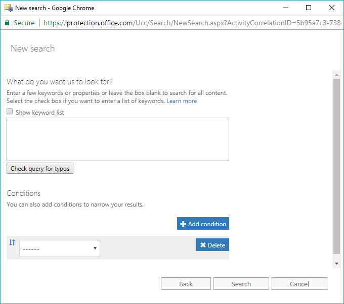 Choose Options to filter Office 365 mailbox account data