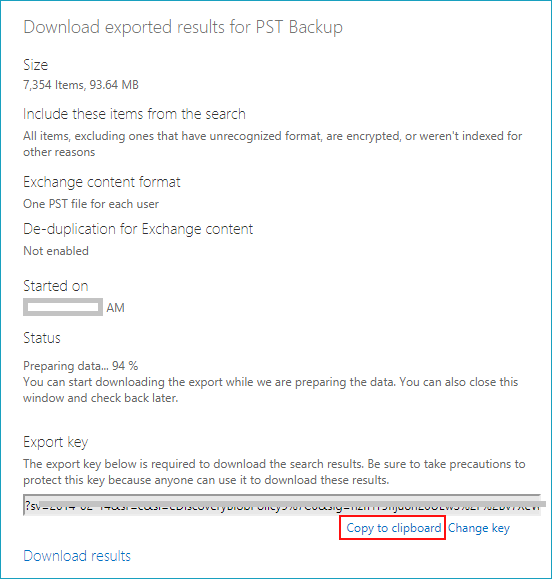 copy key to export office 365 mailbox