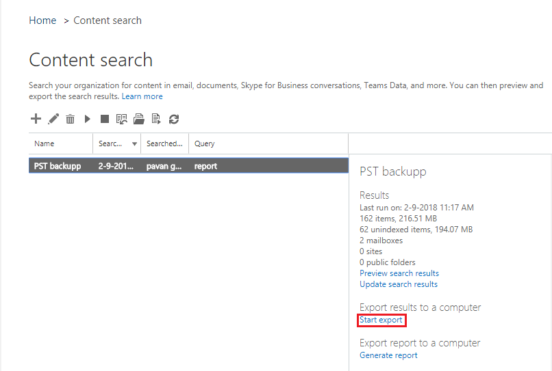 Start export PST from Office 365 Mailbox